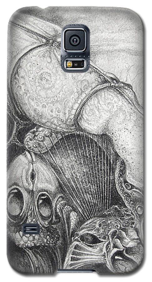 Surrealism Galaxy S5 Case featuring the drawing Ctulhu Seedpods by Otto Rapp