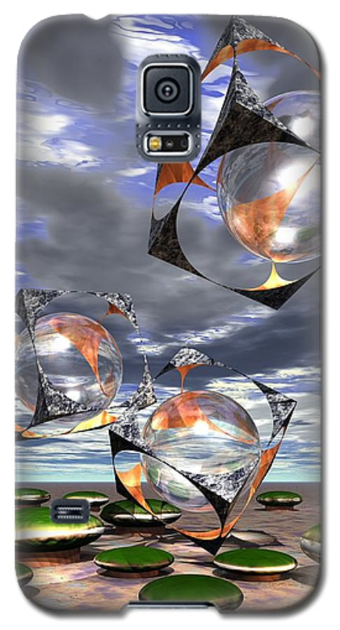 Cubes Galaxy S5 Case featuring the digital art Cubes Capture Spheres In Another World by Dave Martsolf