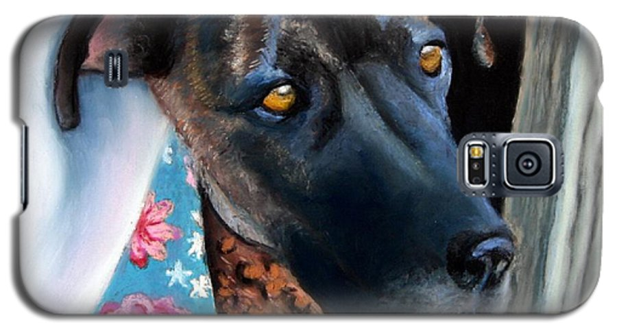 Great Dane Galaxy S5 Case featuring the painting Whats Going On? by Minaz Jantz
