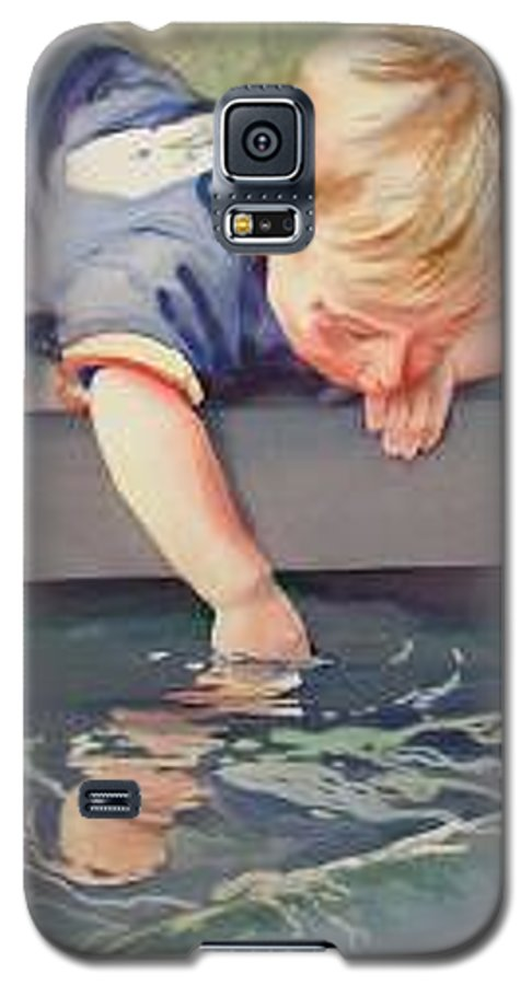 Boy Playing In Water Galaxy S5 Case featuring the painting Curious by Marlene Gremillion