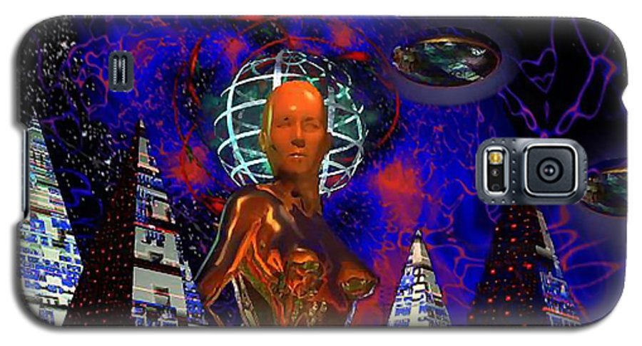 Martsolf Galaxy S5 Case featuring the digital art Cybergal Temple by Dave Martsolf