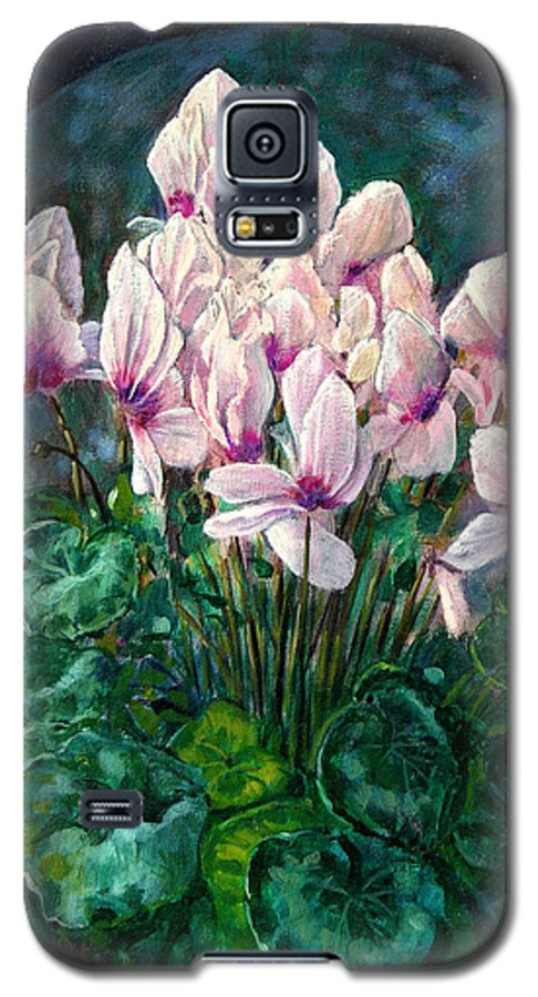 Cyclamen Flowers Galaxy S5 Case featuring the painting Cyclamen In Orbit by John Lautermilch