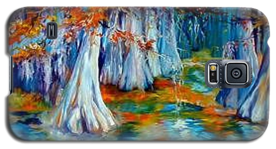 Tree Galaxy S5 Case featuring the painting Cypress Trees Along The Bayou by Marcia Baldwin