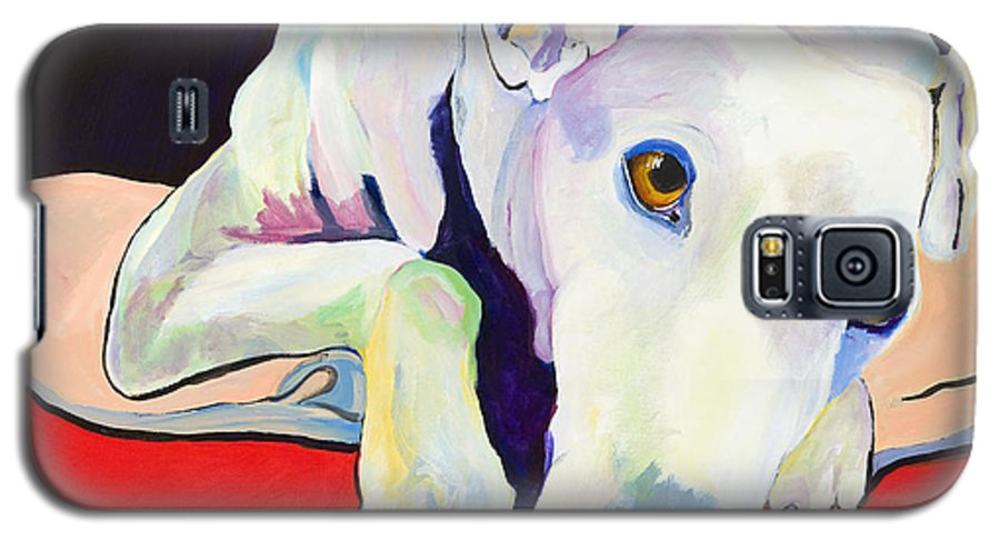 Animals Pets Greyhound Galaxy S5 Case featuring the painting Cyrus by Pat Saunders-White