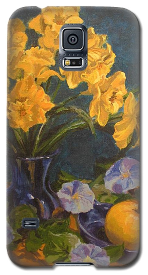 Still Life Galaxy S5 Case featuring the painting Daffodils by Karen Ilari