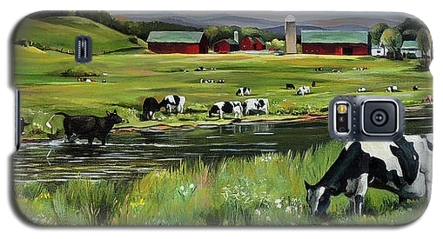 Landscape Galaxy S5 Case featuring the painting Dairy Farm Dream by Nancy Griswold