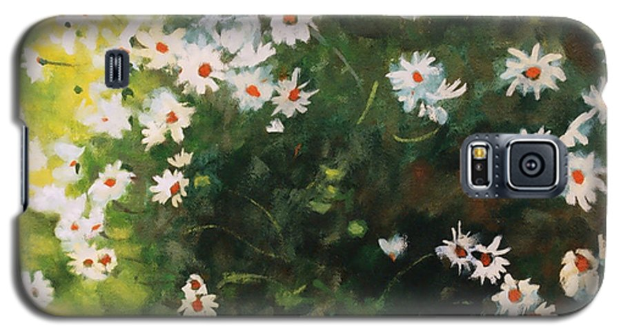 Daisies Galaxy S5 Case featuring the painting Daisies by Iliyan Bozhanov