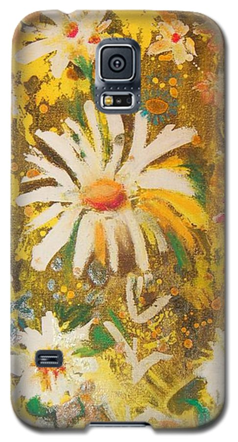 Floral Abstract Galaxy S5 Case featuring the painting Daisies In The Wind Vii by Henny Dagenais