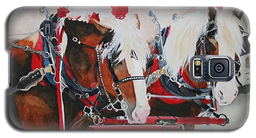 Horse Galaxy S5 Case featuring the painting Dandy Duo by Jean Blackmer
