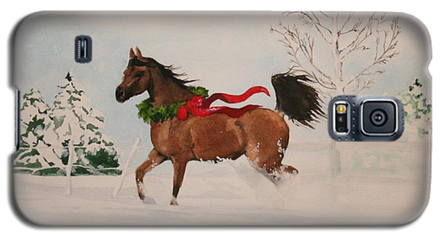 Horse Galaxy S5 Case featuring the painting Dashing Thru The Snow by Jean Blackmer