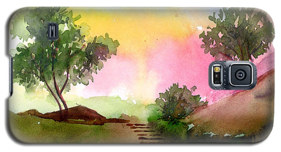 Landscape Galaxy S5 Case featuring the painting Dawn by Anil Nene