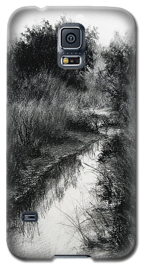 Charcoal Galaxy S5 Case featuring the drawing Dawn Marsh by Keith Burgess