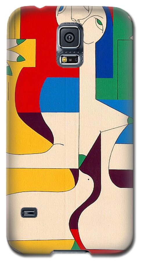 Women Birds Music Guitar Flower Humor Voice Galaxy S5 Case featuring the painting De Sopraan by Hildegarde Handsaeme