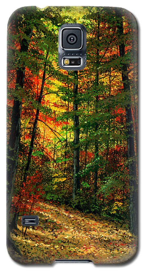 Landscape Galaxy S5 Case featuring the painting Deep In The Forest by Frank Wilson