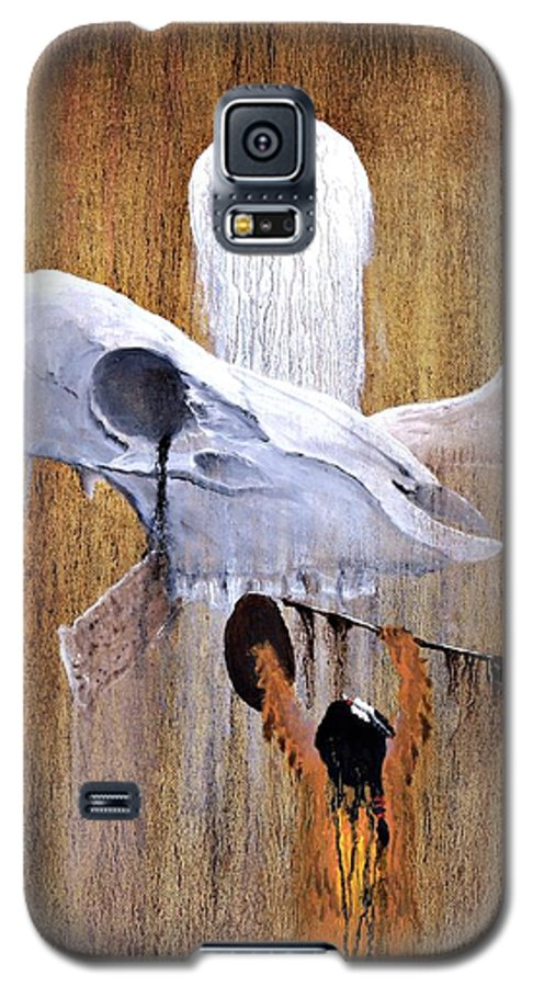 American Indian Galaxy S5 Case featuring the painting Deer Song by Patrick Trotter