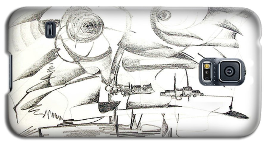 Abstract Galaxy S5 Case featuring the drawing Delire by Muriel Dolemieux