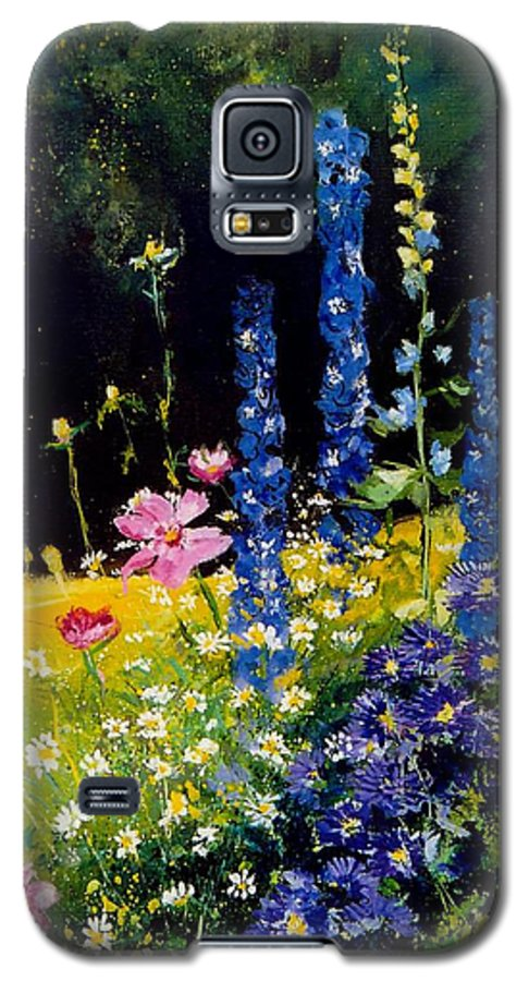 Poppies Galaxy S5 Case featuring the painting Delphiniums by Pol Ledent