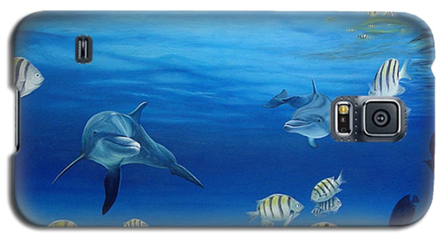Seascape Galaxy S5 Case featuring the painting Delphinus by Angel Ortiz