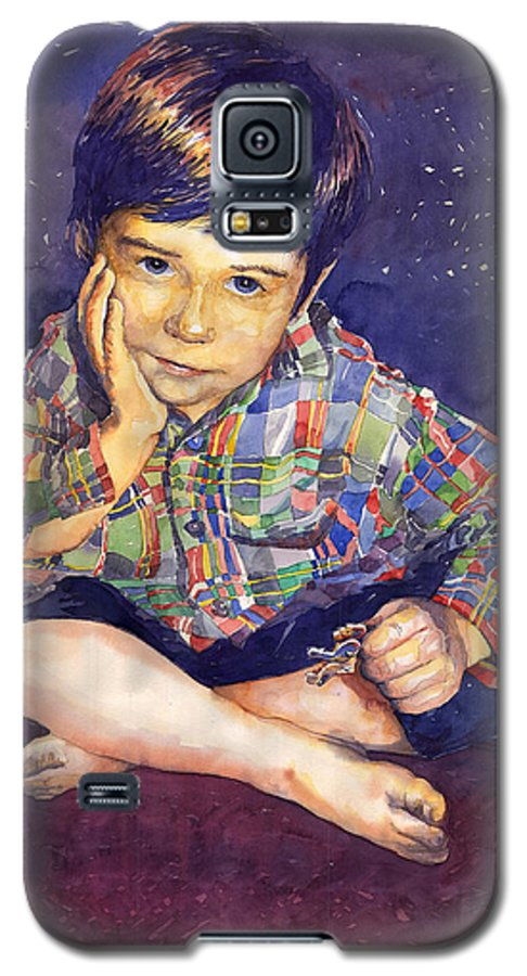 Watercolor Watercolour Portret Figurativ Realism People Commissioned Galaxy S5 Case featuring the painting Denis 01 by Yuriy Shevchuk