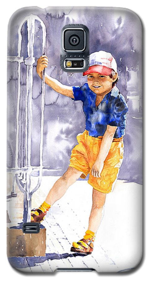 Watercolor Watercolour Figurativ Portret Galaxy S5 Case featuring the painting Denis 02 by Yuriy Shevchuk
