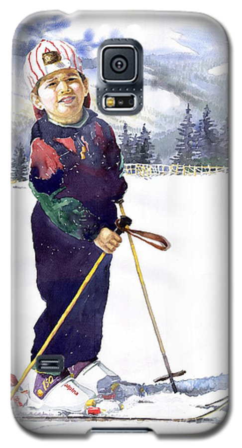 Watercolor Watercolour Figurative Ski Children Portret Realism Galaxy S5 Case featuring the painting Denis 03 by Yuriy Shevchuk