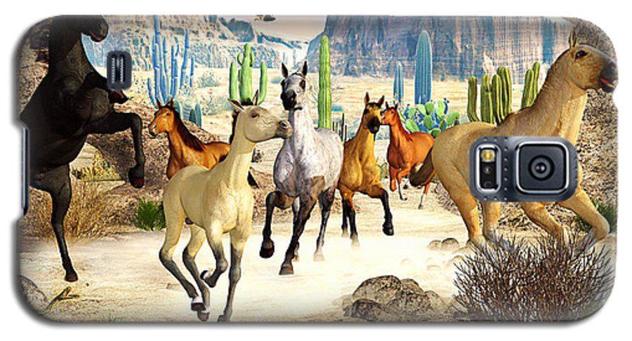 Horses Galaxy S5 Case featuring the photograph Desert Horses by Peter J Sucy