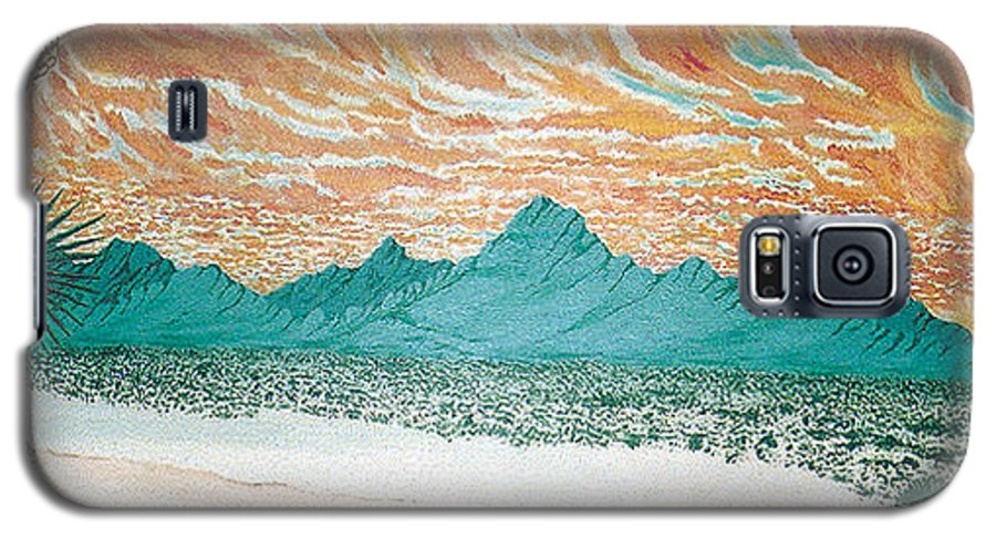 Desertscape Galaxy S5 Case featuring the painting Desert Splendor by Marco Morales