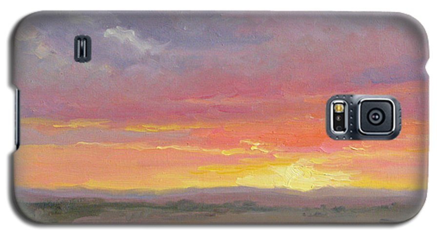 Sunset Galaxy S5 Case featuring the painting Desert Sundown by Bunny Oliver