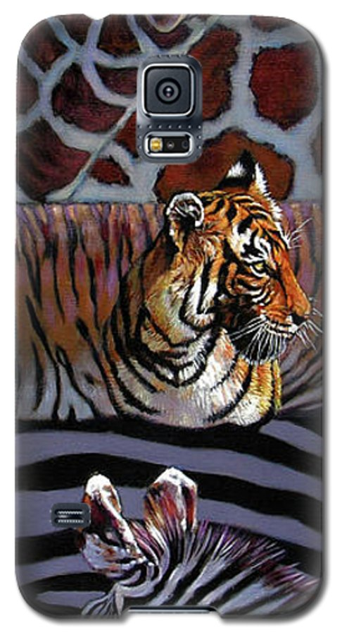 Animals Galaxy S5 Case featuring the painting Designs For Defense And Offense by John Lautermilch