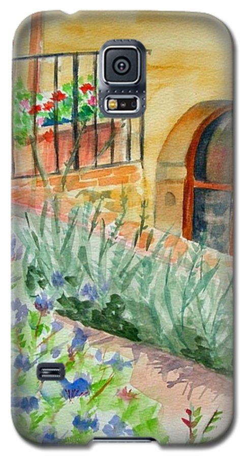 Flowers Surrounding Apartment On Vineyard Galaxy S5 Case featuring the painting Dievole Vineyard by Judy Swerlick