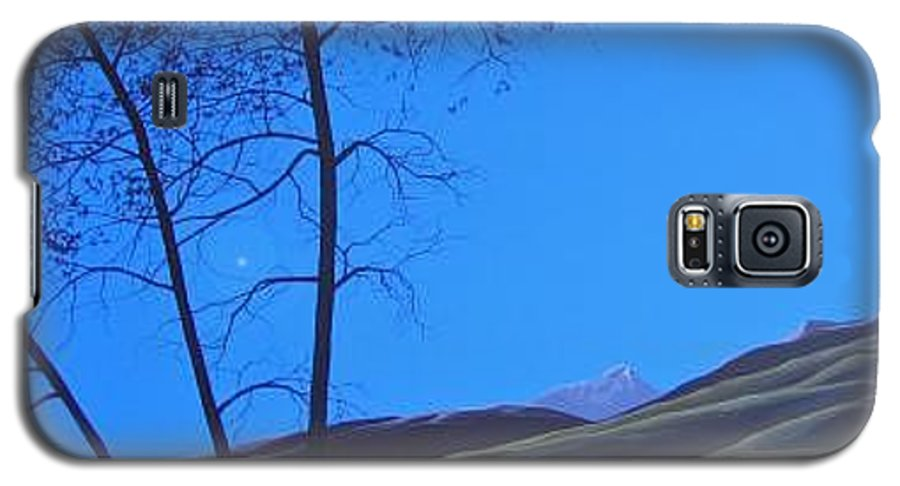 Mountains Galaxy S5 Case featuring the painting Distant Sun by Hunter Jay