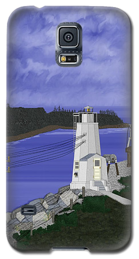 Lighthouse Galaxy S5 Case featuring the painting Dofflemeyer Point Lighthouse At Boston Harbor by Anne Norskog