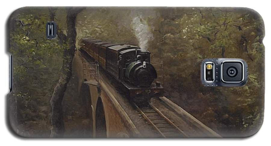 Steam Galaxy S5 Case featuring the painting Dolgoch Viaduct by Richard Picton