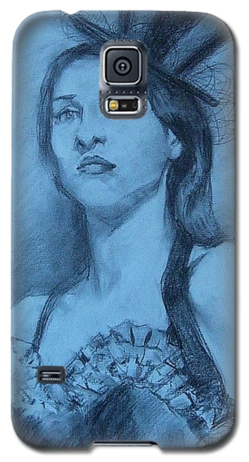 Portrait Galaxy S5 Case featuring the drawing Dolly In Costume by Debra Jones