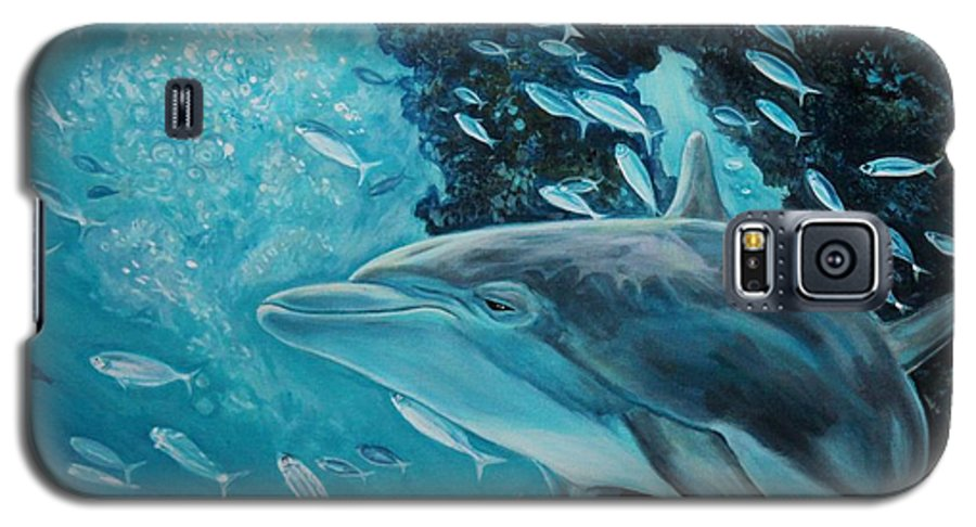 Underwater Scene Galaxy S5 Case featuring the painting Dolphin With Small Fish by Diann Baggett