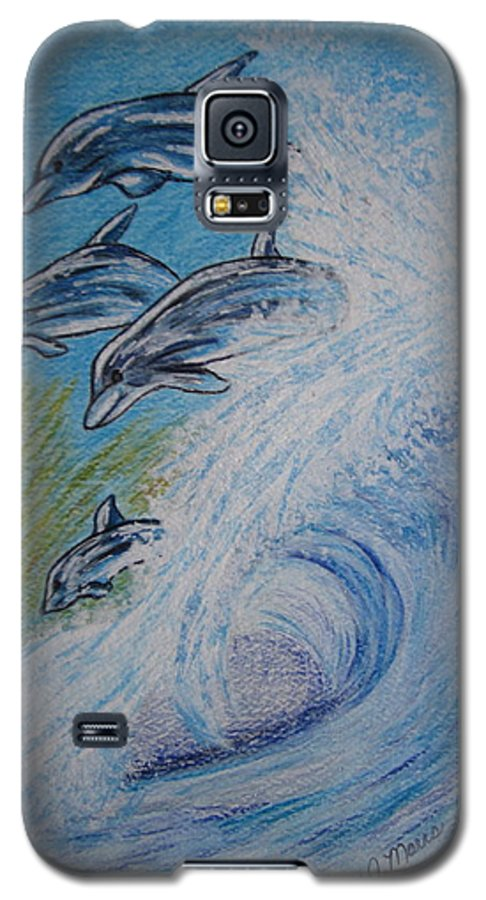 Dolphins Galaxy S5 Case featuring the painting Dolphins Jumping In The Waves by Kathy Marrs Chandler