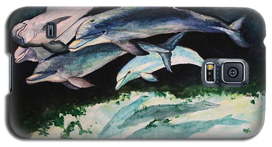 Dolphins Galaxy S5 Case featuring the painting Dolphins by Laura Rispoli
