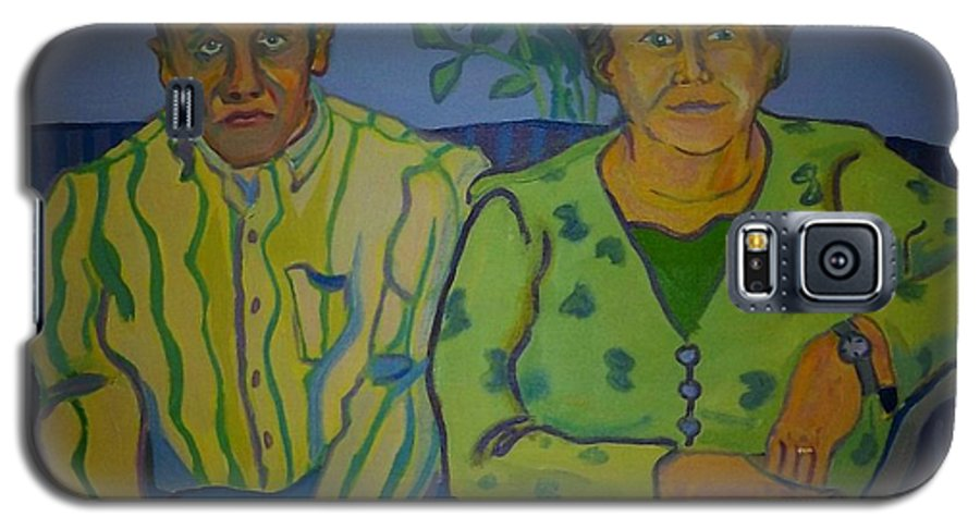 Older Couple Galaxy S5 Case featuring the painting Dottie And Jerry by Debra Bretton Robinson
