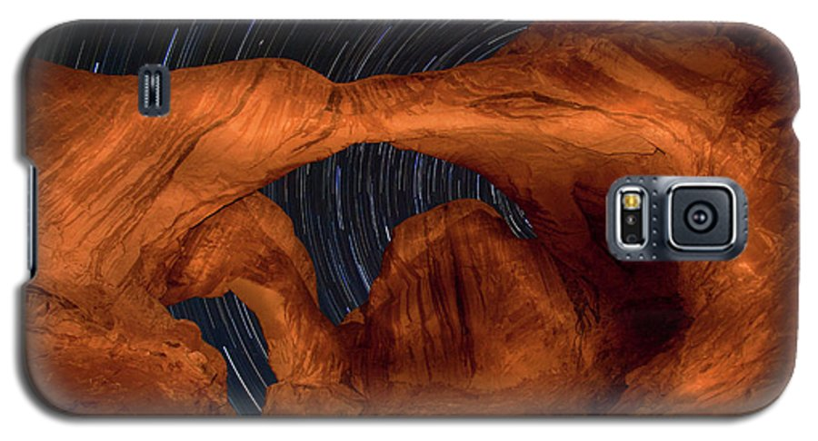 3scape Galaxy S5 Case featuring the photograph Double Arch Star Trails by Adam Romanowicz