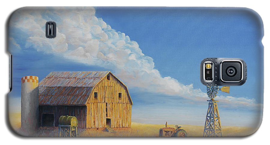 Barn Galaxy S5 Case featuring the painting Downtown Wyoming by Jerry McElroy