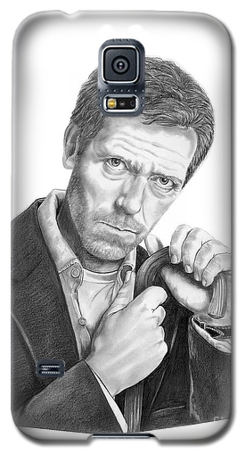 Drawing Galaxy S5 Case featuring the drawing Dr. House Hugh Laurie by Murphy Elliott