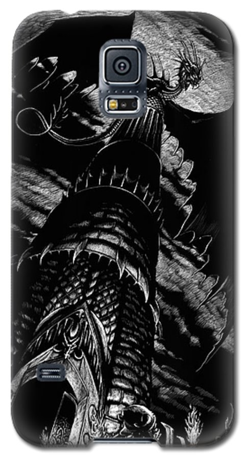 Dragon Galaxy S5 Case featuring the drawing Dragon Tower by Stanley Morrison