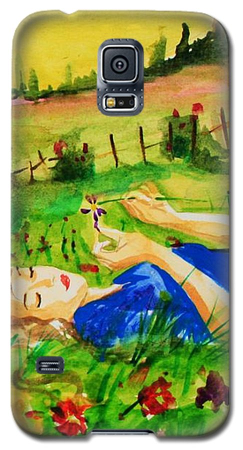 Landscape Galaxy S5 Case featuring the painting Dreaming by Laura Rispoli