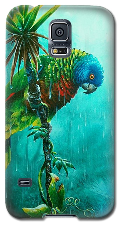 Chris Cox Galaxy S5 Case featuring the painting Drenched - St. Lucia Parrot by Christopher Cox