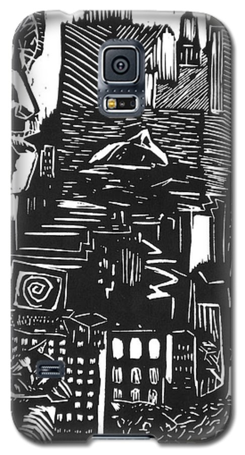 Apocalypse Buildings City Drown Lino Metropolis People Print Sheep Darkestartist Darkest Artist Black Galaxy S5 Case featuring the mixed media Drowning In Metropolis by Darkest Artist