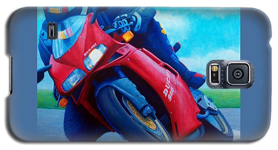 Motorcycle Galaxy S5 Case featuring the painting Ducati 916 by Brian Commerford