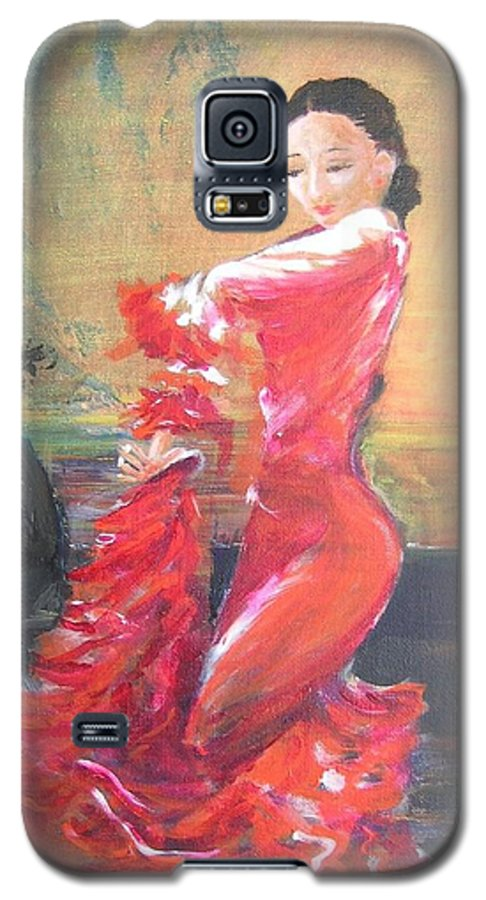 Gypsy Flamenco Dancer. Spanish Dancer Galaxy S5 Case featuring the painting Duende by Lizzy Forrester
