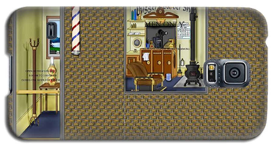 Townscape Galaxy S5 Case featuring the painting Dugger's Barber Shop by Anne Norskog