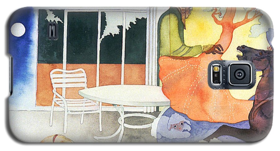 Surreal Galaxy S5 Case featuring the painting Dusk Moonlicks by Eileen Hale