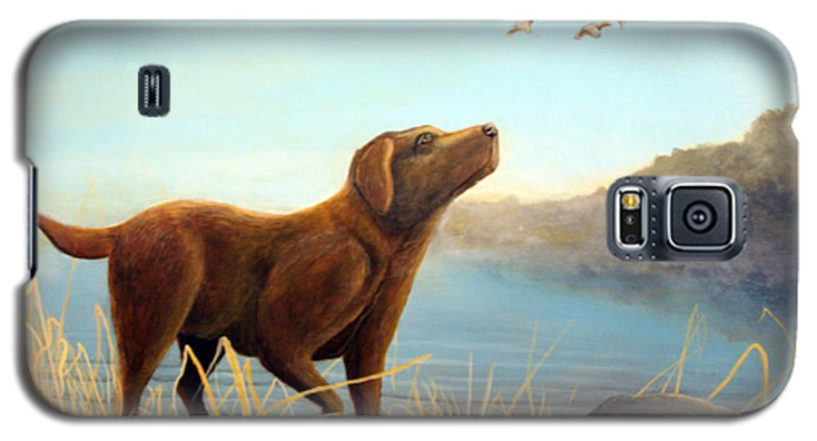 Chocolate Lab Painting Galaxy S5 Case featuring the Dutch by Rick Huotari
